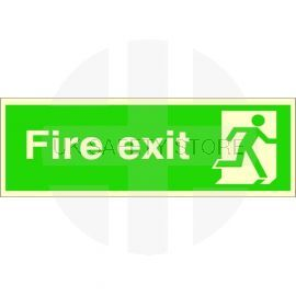 Extra Large Glow in the Dark Fire Exit Running Man Right Sign 900mm x 300mm - 3mm Foamex