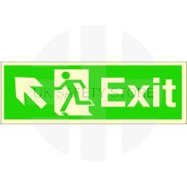 Exit Arrow Up Left Glow In Dark Sign