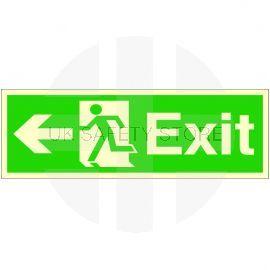 Exit Arrow Left Glow In Dark Sign