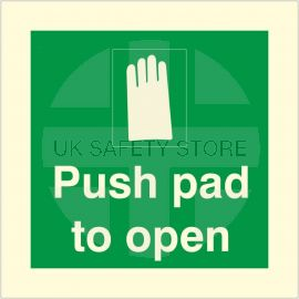 Photoluminescent Push Pad To Open Sign