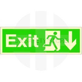 Exit Arrow Down Glow In Dark Sign