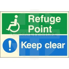 Glow In The Dark Refuge Point - Keep Clear Sign