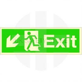 Exit Arrow Down Left Glow In Dark Sign