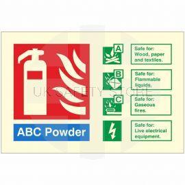 Glow In The Dark ABC Powder Fire Extinguisher Identification