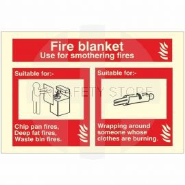 Glow In The Dark Fire Blanket Fire Extinguisher Identification Sign
