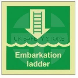 Embarkation ladder photoluminescent 100W  x  110H  sign self adhesive