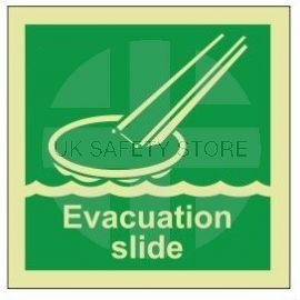 Evacuation slide photoluminescent 100W  x  110H   sign self adhesive