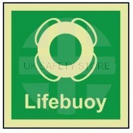 Lifebuoy photoluminescent 100W  x  110H   sign rigid plastic