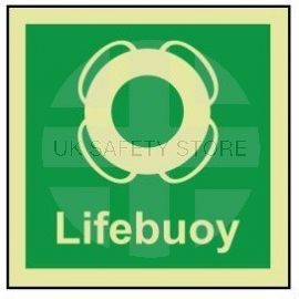Lifebuoy photoluminescent 100W  x  110H sign self adhesive