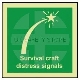 Survival craft distress signals photoluminescent 100W  x  110H sign self adhesive