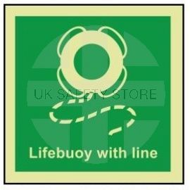 Lifebuoy with line photoluminescent 100W  x  110H sign rigid plastic