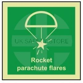 Rocket parachute flares photoluminescent 100W  x  110W sign self adhesive