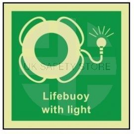 Lifebuoy with light photoluminescent 100W  x  110H  sign self adhesive