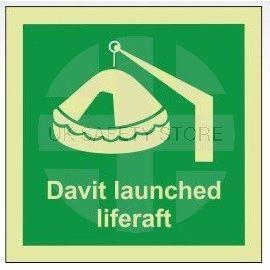 Davit launched liferaft photoluminescent 100W  x  110H sign self adhesive