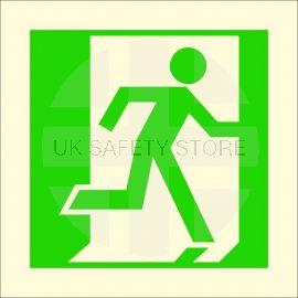 Man Running Right Glow In Dark Symbol Sign