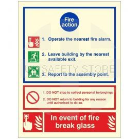 3 Point Glow In The Dark Fire Action Notice Sign - In The Event Of Fire Break Glass