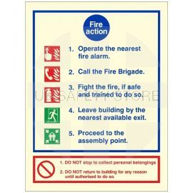 Glow In The Dark 5 Point Fire Action Notice Sign