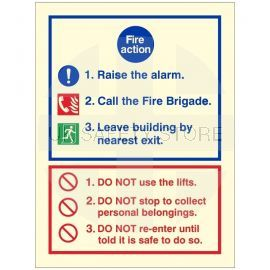 Glow In The Dark 3 Point Fire Action Notice Sign - Raise The Alarm