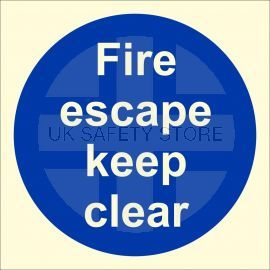 Photoluminescent Fire Escape Keep Clear Sign