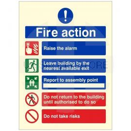 Raise The Alarm Glow In The Dark Fire Action Notice Sign