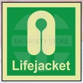 Life jacket photoluminescent 100W  x  110H sign rigid plastic