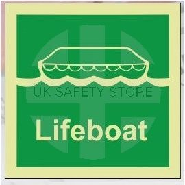 Lifeboat photoluminescent 100W  x  110H   sign rigid plastic
