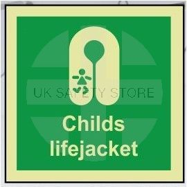 Childs lifejacket photoluminescent 100W  x  110H   sign self adhesive