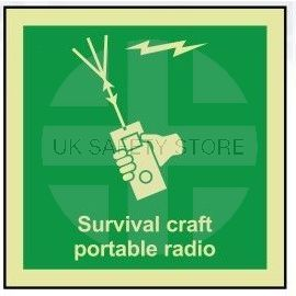 Survival craft portable radio photoluminescent 100W  x  110H   sign rigid plastic