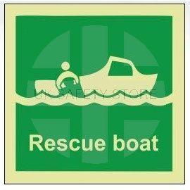 Rescue boat photoluminescent 100W  x  110H   sign rigid plastic