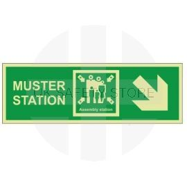 Muster Station Assembly Station Arrow Down Right Sign - Rigid Plastic