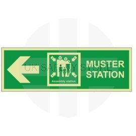 Muster station arrow left 400W  x  150H  self adhesive sign
