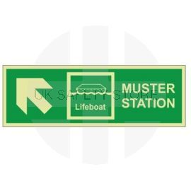 Muster Station Lifeboat Arrow Up Left Sign - Rigid Plastic
