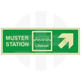 Muster Station Lifeboat Arrow Up Right Sign