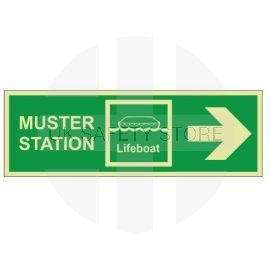 Muster Station Lifeboat Arrow Right Sign - Self Adhesive