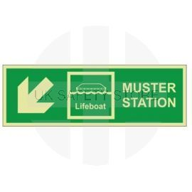 Muster Station Lifeboat Arrow Down Left Sign - Rigid Plastic