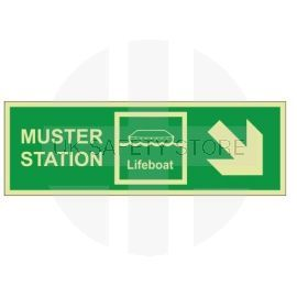 Muster station arrow down right 400W  x  150H   self adhesive sign