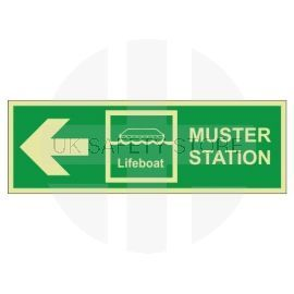 Muster Station Lifeboat Arrow Left Sign - Self Adhesive