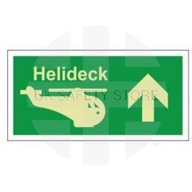Helideck up photoluminescent 300W x  150H   sign rigid plastic
