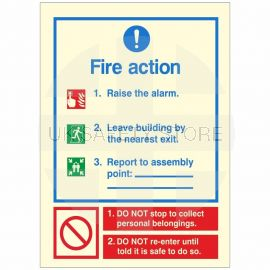 Glow In The Dark 3 Point Fire Action Notice Sign (Raise The Alarm)
