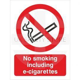 No Smoking Including E-Cigarettes  Sign