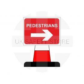 Pedestrians Arrow Right Aluminium Composite Cone Sign