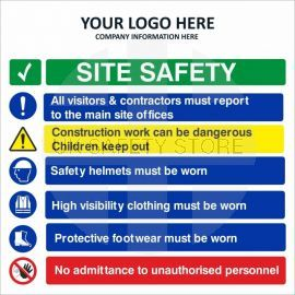 Site Safety All Visitors & Contractors Must Report To The Main Site Offices Multi Message Safety Board