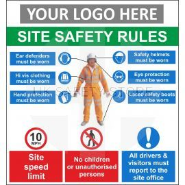 SITE SAFETY RULES sign in wall of post fit with or without your logo