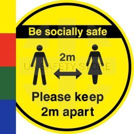 Be Socially Safe Keep 2m Apart Floor Sticker