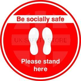 Be Socially Safe Please Stand Here Floor Sticker - Red