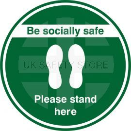 Be Socially Safe Please Stand Here Floor Sticker-Green-200x200h