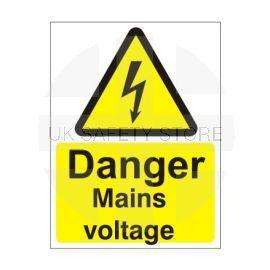 Danger Mains Voltage Safety Sign