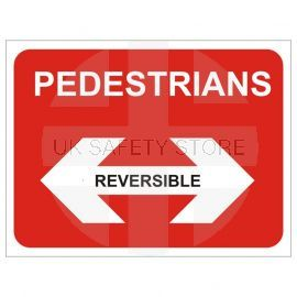 Pedestrians Left Pedestrians Right Reversible Temporary Traffic Sign