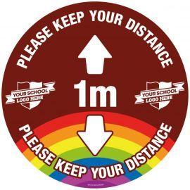 Custom Please Keep Your Distance School Floor Graphic Sign - 1 Metre (Brown)
