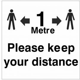 Please Keep Your Distance Helmet Sticker - 1 Metre